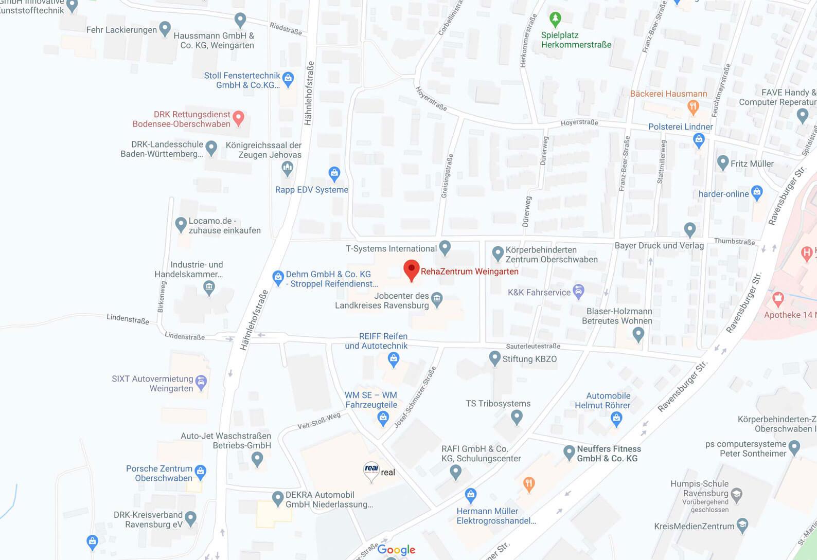 Karte Rehazentrum Weingarten