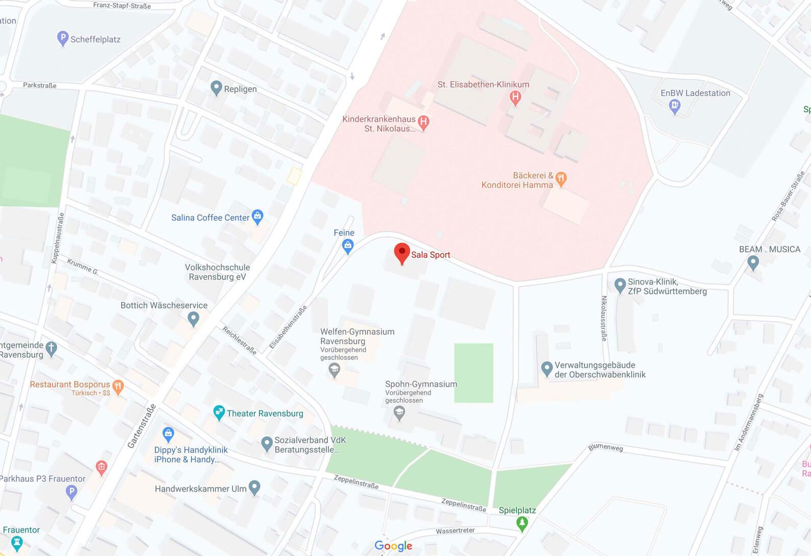 Karte Spohnhalle Ravensburg